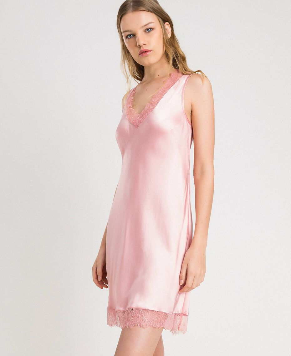 "Slip dress in satin and lace ""Pink Bouquet"" Woman 191LL2DBB-02"