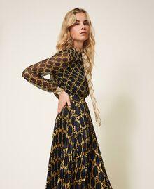 Creponne shirt with chain print Black / Ivory Large Chain Print Woman 202TT221D-03
