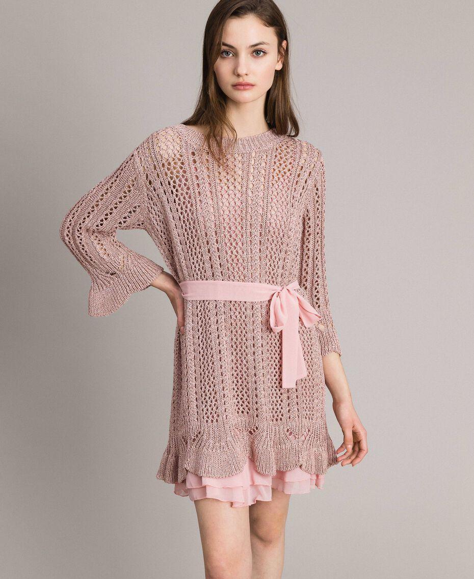 Lurex-Strick-Kleid Pearl Pink Lurex Frau 191TP3350-02