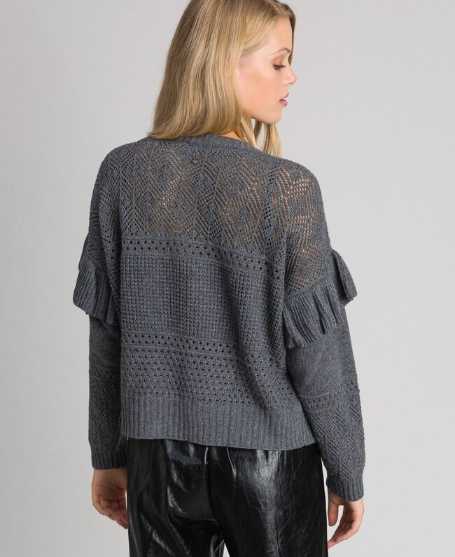 Openwork wool and cashmere jumper Melange Grey Woman 192TP3201-04
