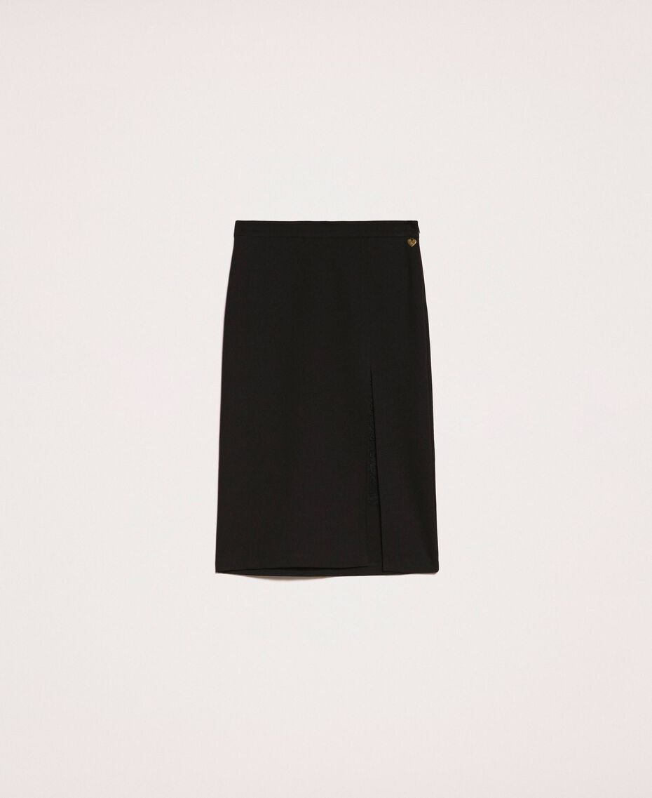 Side slit and lace skirt Black Woman 201TP212C-0S