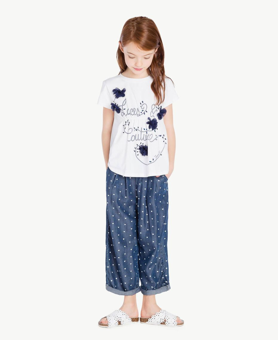 "Embroidered T-shirt Two-tone ""Papyrus"" White / Ocean Blue Child GS82JD-02"