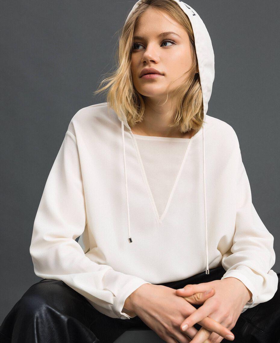 Blouse en crêpe de Chine avec capuche Blanc Neige Femme 192ST2080-02
