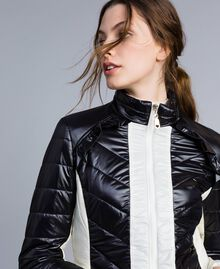 Two-tone quilted nylon padded jacket Bicolour Black / Blanc Woman IA85JJ-01