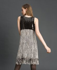 Georgette dress with sequins and fringes Dark Gold Sequin Embroidery Woman 192TT2482-03