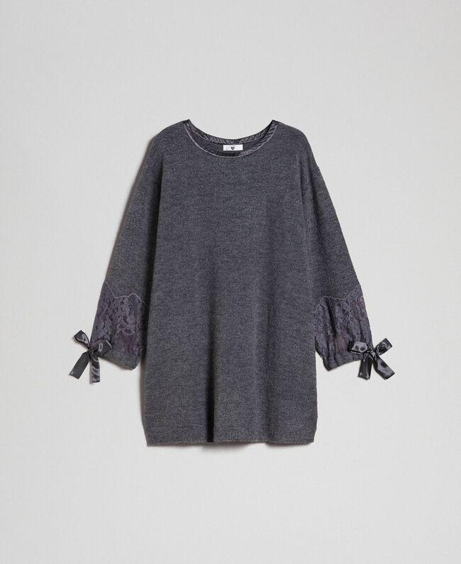 Knit dress with lace Dark Gray Mélange Woman 192LI31AA-0S