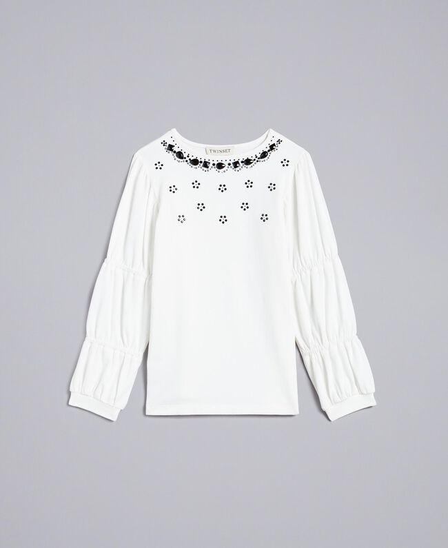 Maxi T-shirt con strass e pietre Off White Bambina GA821N-01