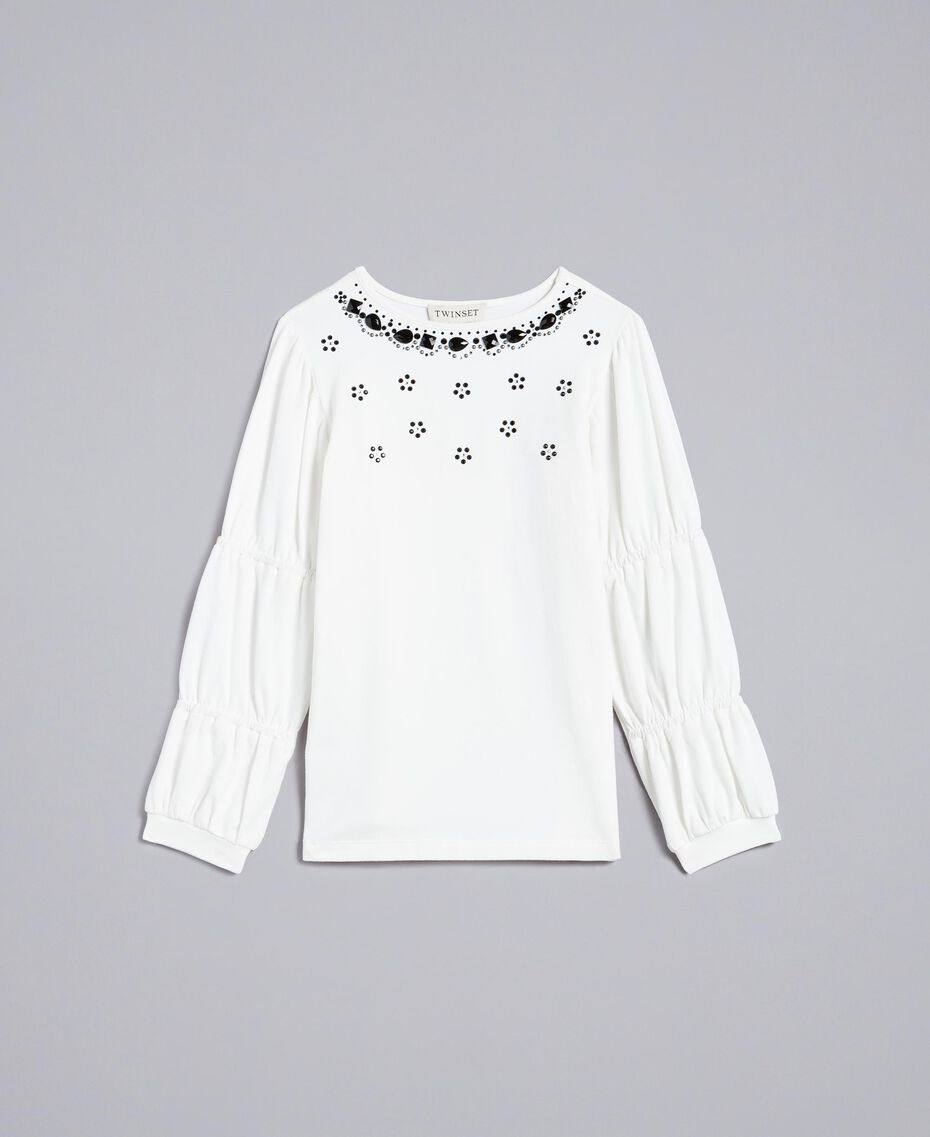 Maxi t-shirt with rhinestones and stones Off White Child GA821N-01