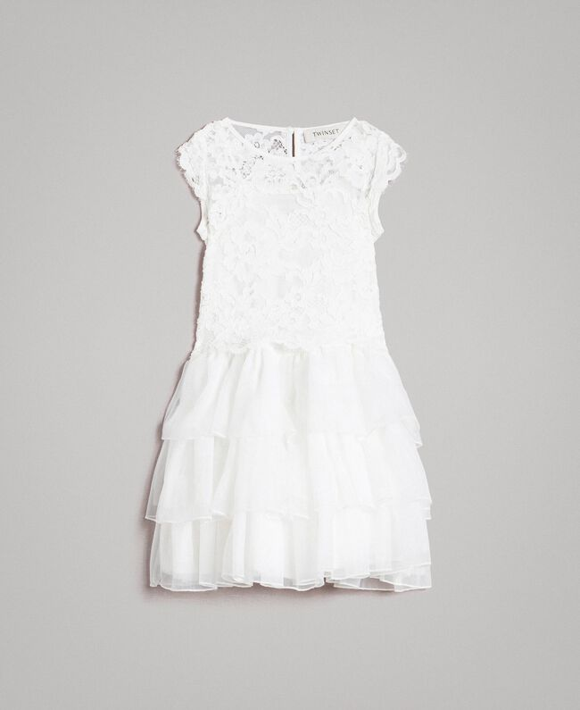 Kleid und Bluse aus Chinakrepp Mattweiß Kind 191GB2Q90-01