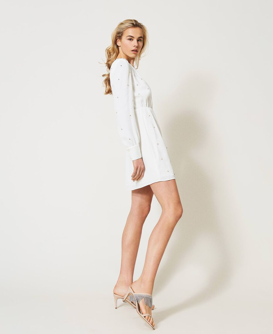 Платье с шатонами Слоновая кость женщина 211LM21EE-02