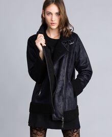 Faux shearling jacket Black / Black Woman JA82G1-02