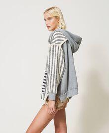 "Oversize striped hoodie ""Ivory Mat"" Grey / Blue Mixed Stripe Woman 211TT2060-03"