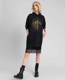 Oversize-Sweatshirt mit Print an der Vorderpartie Blütenknospenrosa Frau 192TT2130-02