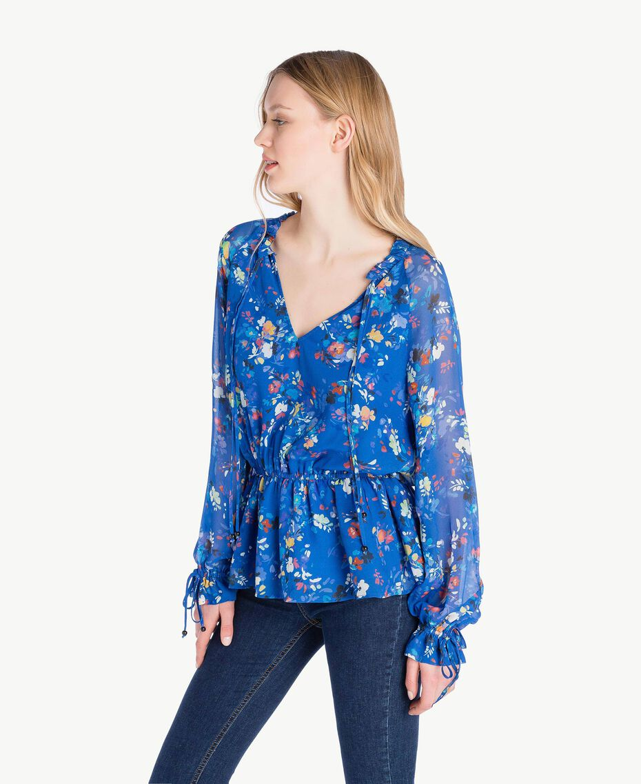 Printed blouse Multicolour Lapis Blue Flowers Woman JS82NN-02