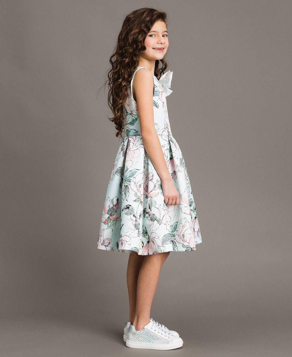 """Цветочное платье из королевского атласа """"Water"""" Светло-Голубой Растительный Принт Pебенок 191GJ2QN0-02"""