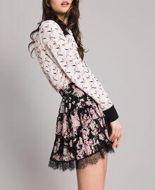 """Minijupe volantée en crêpe georgette floral Imprimé Noir Rose """"Bouquet Rose"""" Femme 191TP2714-03"""