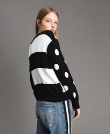 Plush cardigan-top with polka dots and stripes Multicolour Light Melange Grey / Black / White Woman 191MP3120-04