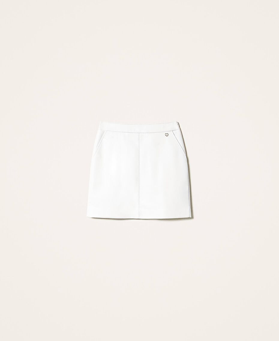 Faux leather mini skirt Creamy White Woman 202MP2093-0S