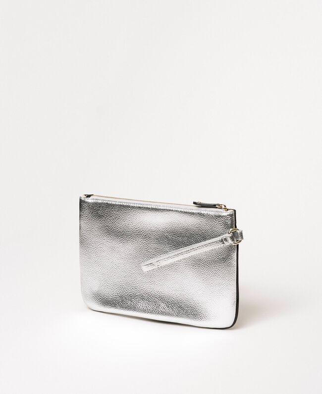 """Multicolour faux leather pochette Multicolour Black / """"Gun Metal"""" Grey / Silver Woman 201MA7025-04"""