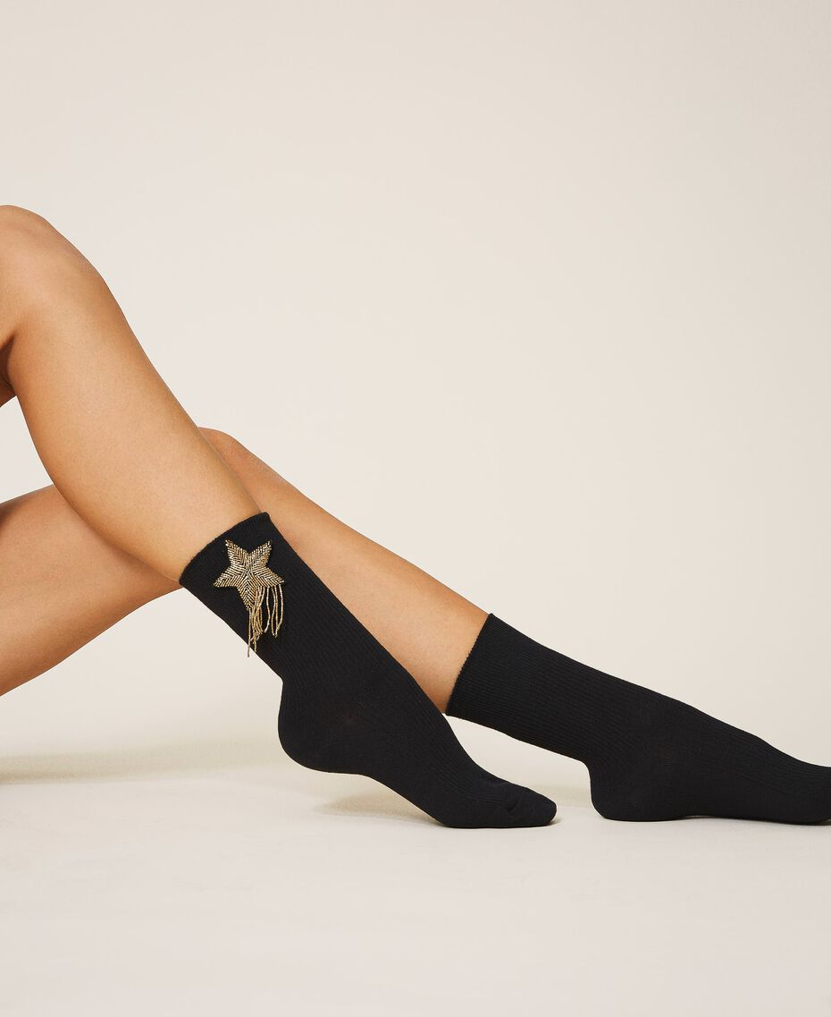 Socks with patch embroidery Black Woman 202TA436A-0S