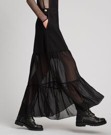 Bib skirt with georgette flounce Black Woman 192MT2333-03