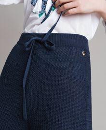 Pantalon palazzo en maille Multicolore Bleu Nuit / Blanc Cassé / Bleu Piscine Femme 191MT3081-06