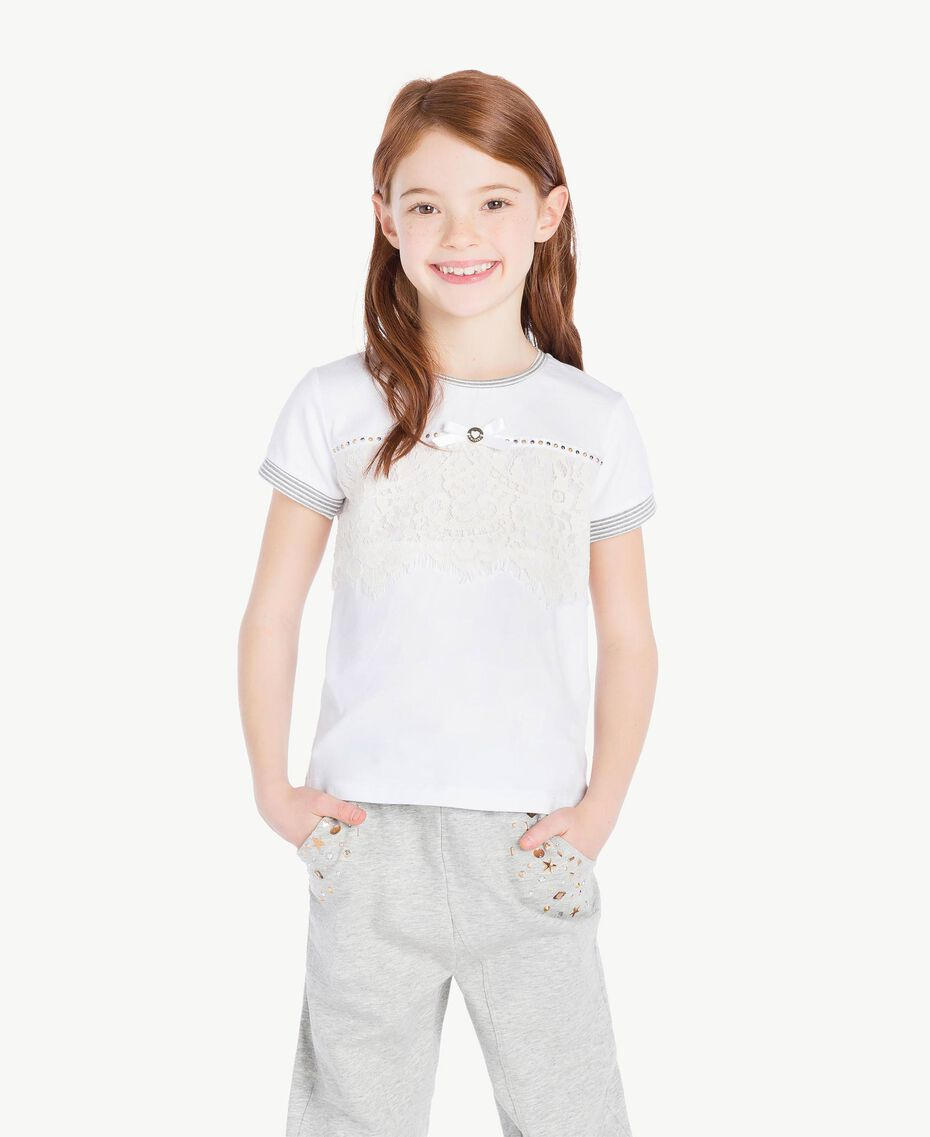 T-shirt dentelle Bicolore Blanc Papyrus / Chantilly Enfant GS82UP-02