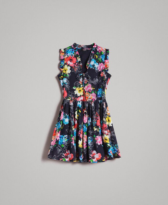 Floral print dress with waistline shirring All Over Black Multicolour Flowers Print Woman 191MT2295-0S