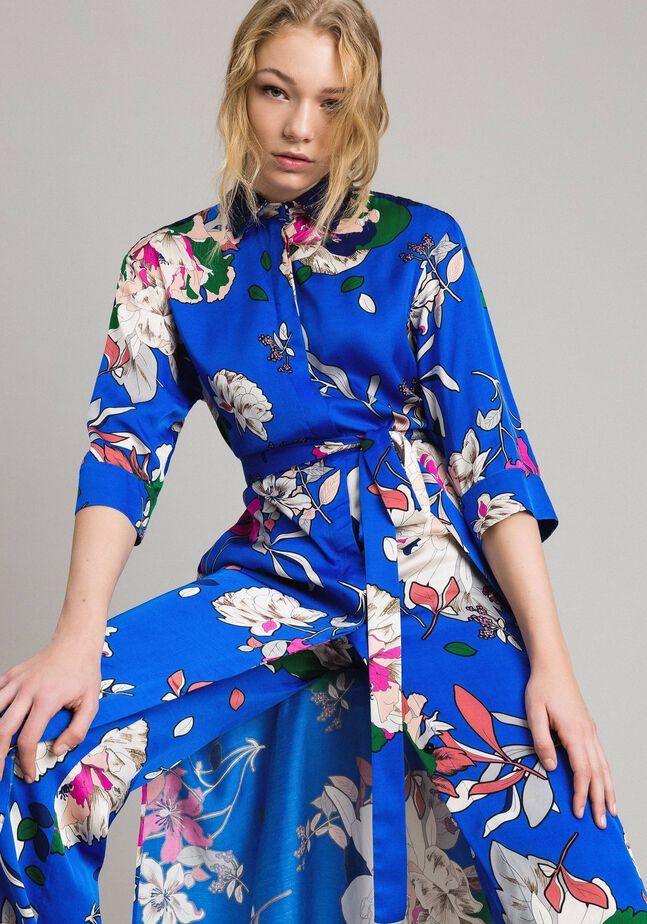 Robe chemise en satin à motif floral