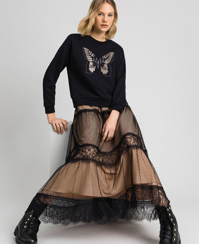 Tulle, Valenciennes lace and plumetis skirt Two-tone Black / Nude Woman 192TP2333-01