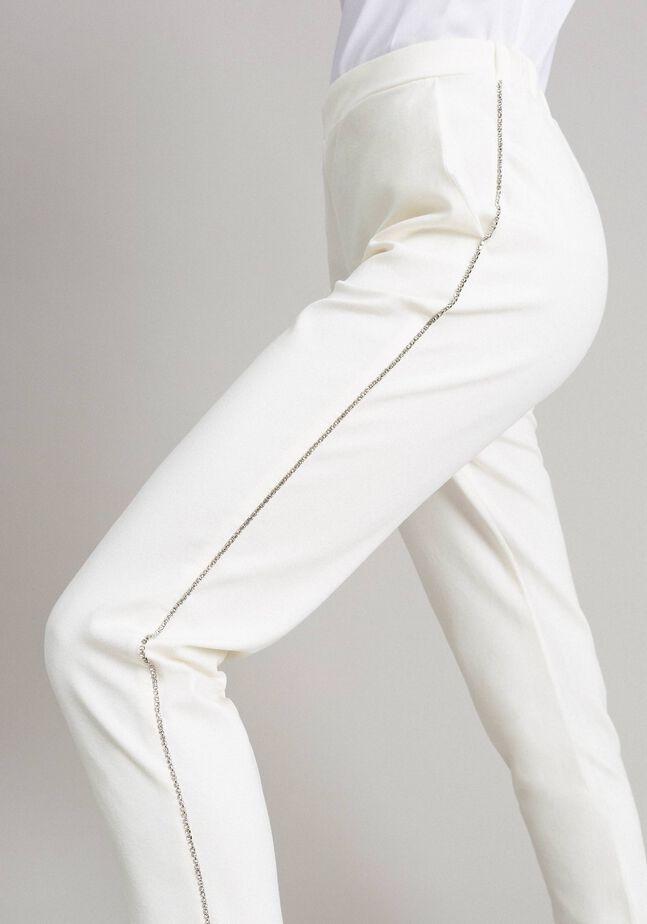 Pantaloni a sigaretta con strass
