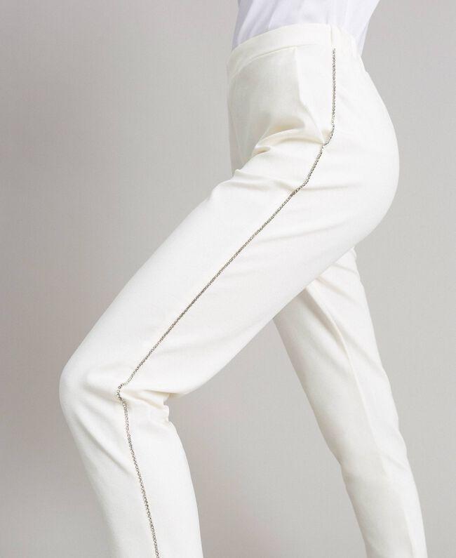 Pantalon cigarette strassé Blanc Femme 191LB22KK-01