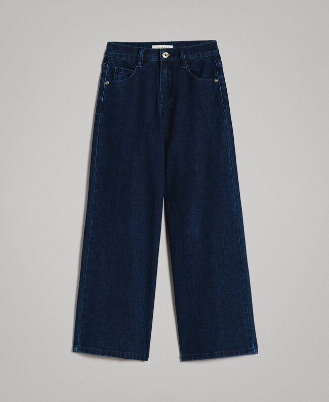 Jeans mit weitem Bein Dunkles Denim Kind 191GJ2600-01