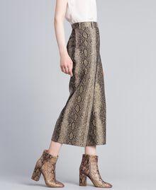Animal print cropped trousers Camel Snake Jacquard Woman PA828P-02