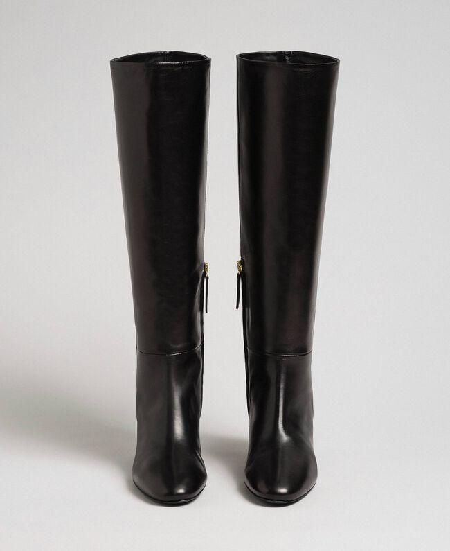 Hoher Stiefel aus Leder Leder Frau 192TCP100-04