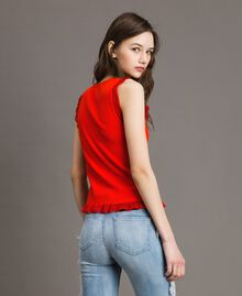 Ribbed top with ruffle Granadine Red Woman 191TT3043-03