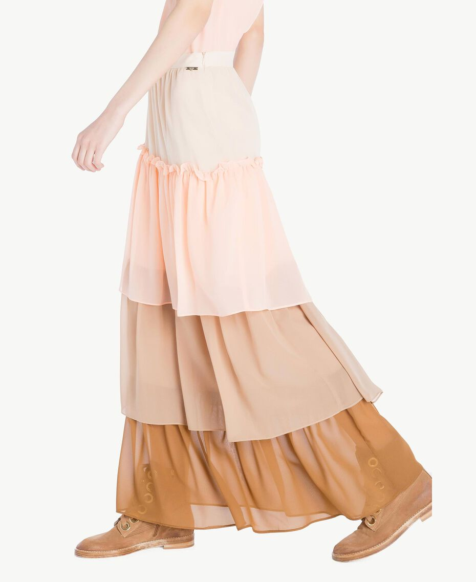 "Long flounce skirt Multicolour ""Rope"" Beige Woman SS82DE-02"