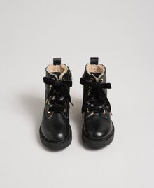 Leather ankle boots with shearling lining Black Child 192GCJ044-04