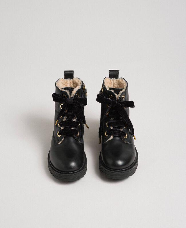 Bottines en cuir avec intérieur en shearling Noir Enfant 192GCJ044-04