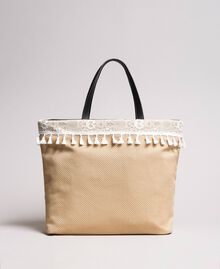 "Beach bag with lace and mini tassels ""Milkway"" Beige Woman 191LB4ZLL-04"