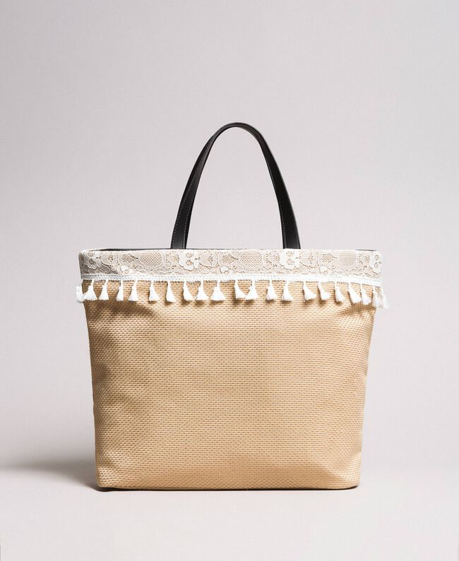 """Strandtasche mit Spitze und Miniquasten """"Milkway"""" Beige Frau 191LB4ZLL-04"""