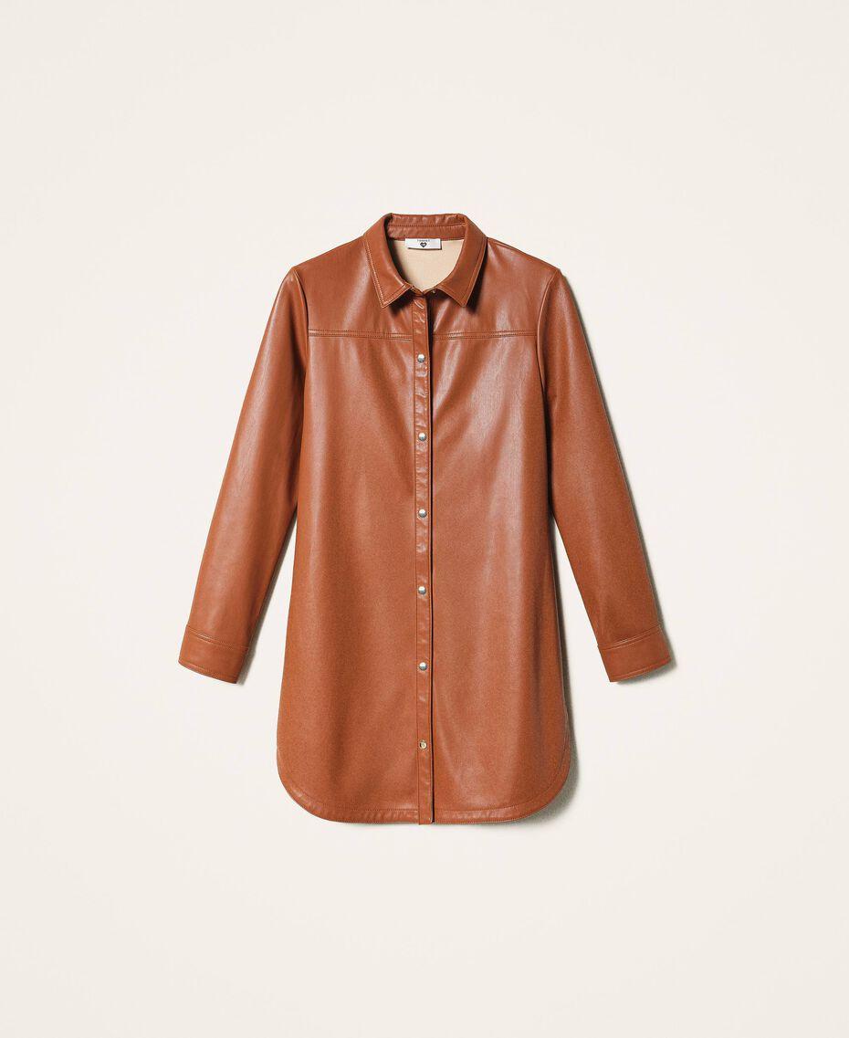 Faux leather shirt dress Black Woman 202LI2GEE-0S