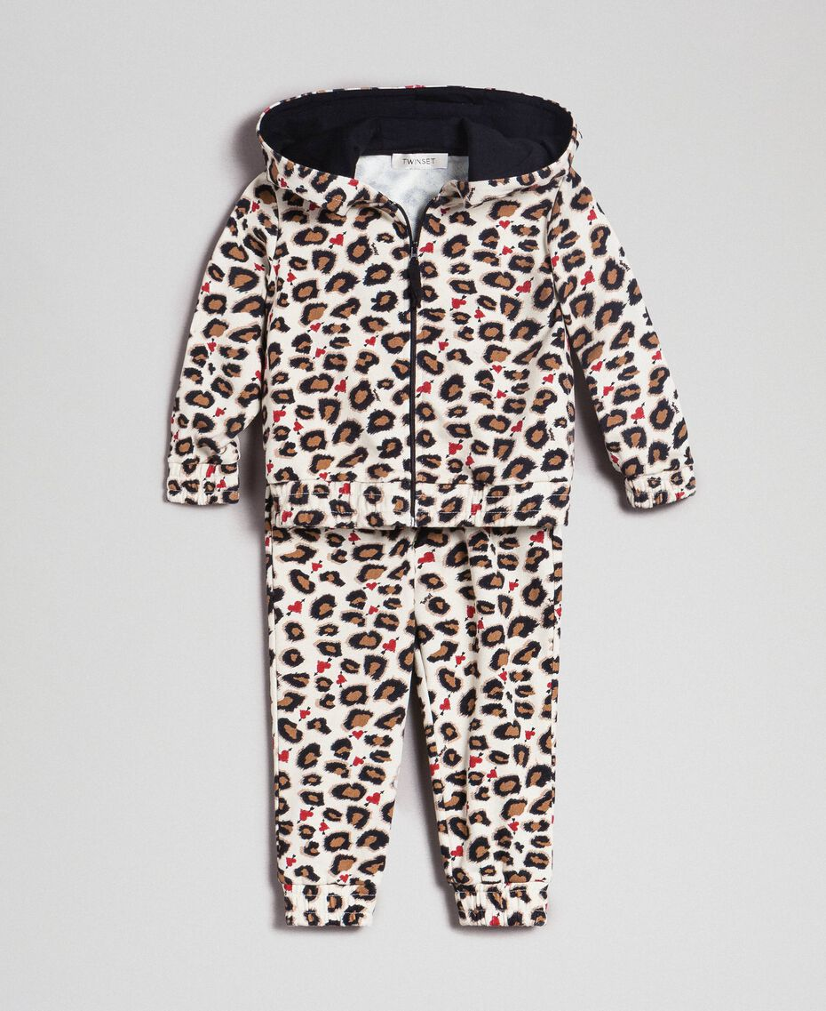 Animal print sweatshirt and jogging trousers Leopard Print Child 192GB2331-01