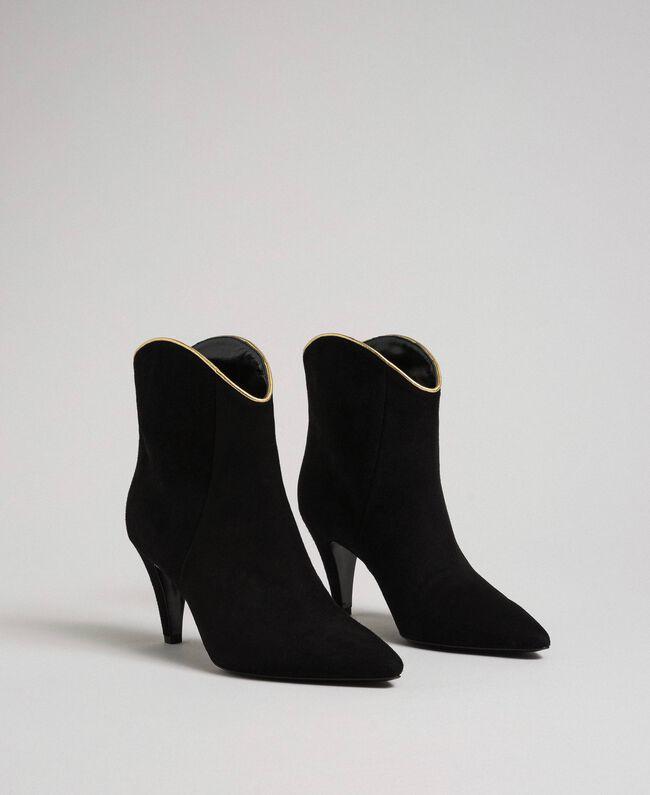 Bottines en cuir velours Noir Femme 192TCT02G-01