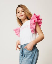 """T-shirt with taffeta sleeves Two-tone """"Off White"""" / """"Rose Bloom"""" Pink Child 211GJ207H-03"""