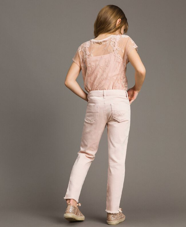 Skinny bull trousers with ripped details Blossom Pink Child 191GJ2061-03