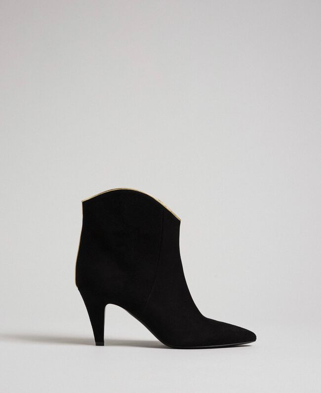 Bottines en cuir velours Noir Femme 192TCT02G-03