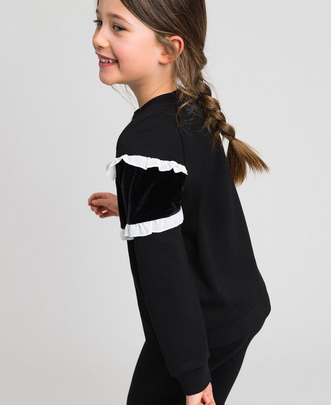 Sweat avec insertion en velours et volants Bicolore Noir / Blanc Enfant 192GJ2469-04