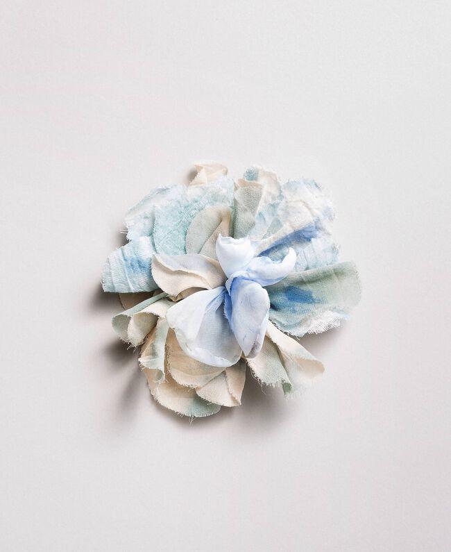Flower fabric brooch Mykonos Light Blue Woman 191TA431J-01
