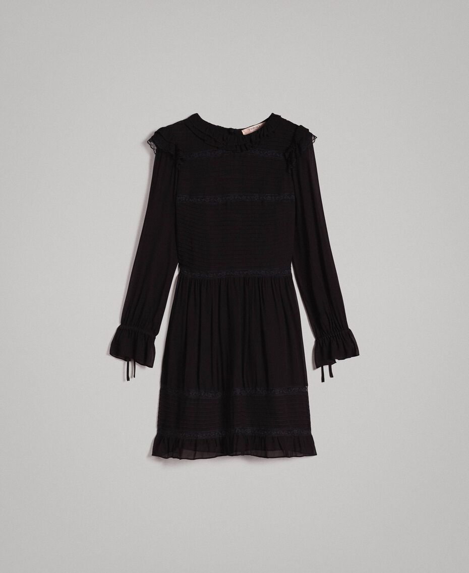 Georgette and lace dress Black Woman 191TP2127-0S